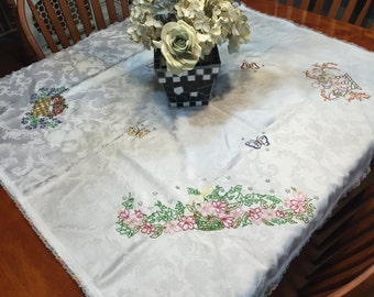 Vintage white Embroidered Kitchen Dining Luncheon Tablecloth with pastel lace border by MarlenesAttic