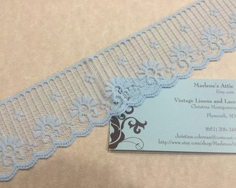 1 yard of 2 inch Light Blue Chantilly lace trim for wedding, baby, hair accessories, lingerie by MarlenesAttic - Item 7AA