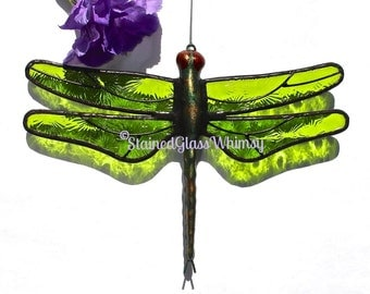 Stained Glass DRAGONFLY Suncatcher  Lime / Spring Green Wings Textured , Handcast Metal Body , USA Handmade, Green Dragonfly, Firefly