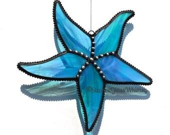 Stained Glass STARFISH Suncatcher -- Wispy, Rainbow Iridescent Turquoise, Decorative Soldering -- Proudly USA Handmade