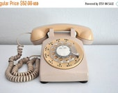 ON SALE Vintage Beige Rotary Phone Telephone Bell System Western Electric