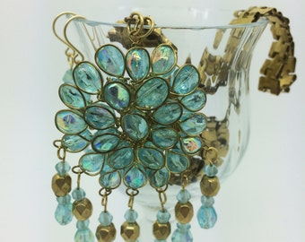 Stunning Aqua Assemblage Necklace and Earrings made from Vintage Components - Very Reflective Aqua or Teal, Seafoam AB Beads, Unique Chain