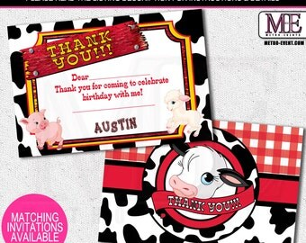Barnyard Thank You Cards | Farm Animal Thank You Cards