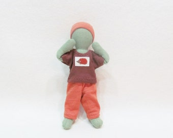 """Pocket doll clothes, t-shirt outfit for 7"""" dolls or small stufffed animals, made from up-cycled cottons, simple minamalist doll"""