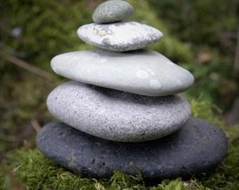 Whimsical Beach Stone Stack 5 Funky Ocean Rocks Zen Garden Sculpture Fountain Yoga Meditation Gift Zen Stones Beach Decor Balance Peace Sea