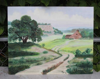 Oil Painting Barn Farm Landscape on Board Artist Signed Vintage 16 x 20
