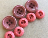 cottage chic shiny dark mauve and rose petal pink faceted rims recycled vintage sewing buttons--mixed lot of 8
