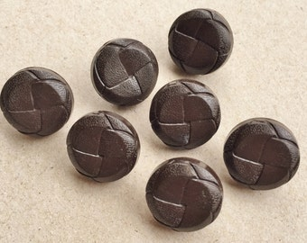 recycled vintage dark brown round woven faux leather shank buttons--matching lot of 7
