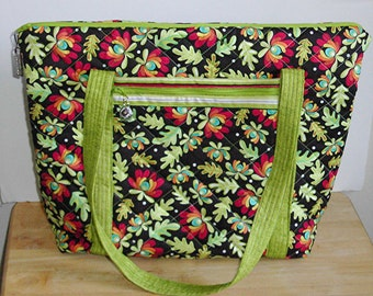 Handmade Quilted Large Purse, Bright Colored Purse, Large Footed Purse
