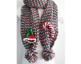 Christmas SCARF   with bell and candy,Chunky Scarf ,scarves,fall fashion,winter accessories,autumn,Knitting