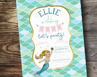 Vintage Mermaid Birthday Party / Shower Invitation