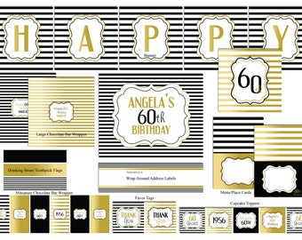 30/40/50/60th  Deluxe Birthday Package-Gold & Black Birthday Party Decoration-DIGITAL DOWNLOAD