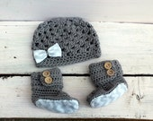 Baby Girl, Baby Girl Clothes, Hat and Booties, Baby Shower Gift Set