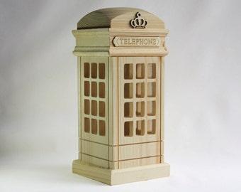 Wooden TELEPHONE Station Saving Bank
