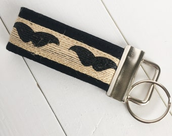 Mustache Keychain - Mustache Key Fob - Mens Keychain - Mens Key Fob