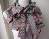 Turkish winter scarf -gingham flannel fabric bow scarf- women's scarves 2012 - fringe scarf gift woman - valentine's day gifrs for her