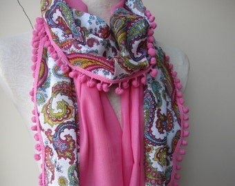 PAREO Sarong Blue white pink paisley floral natural cotton gauze scarf pink pom pom trimmed,yemeni women's scarves, bohemian Fashion scarf