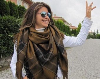 Mustard scarf/cinnamon blue tartan plaid Flannel fabric- men's scarf -women's blanket shawl scarf-winter fashion-men's blanket scarf express