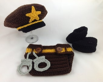 Baby Sheriff Hat Outfit - Crochet - Photography Prop - Baby Shower Gift - Baby Cop - Policeman Hat