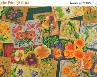 25% OFF Cotton Quilting Fabric Sewing Fabric Floral Cotton Fabric Pansy Sunflower Fabric - 1 Yard - CFL1466