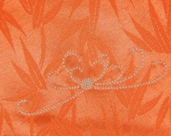 Women's Orange Houmongi Kimono - Damask Bamboo With Embroidered Mums (WHOR1 JS91316 LE)