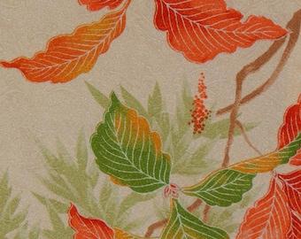 Women's Ivory Komon - Floral With Orange & Green Leaves (WKIV2 TC72716 BK)