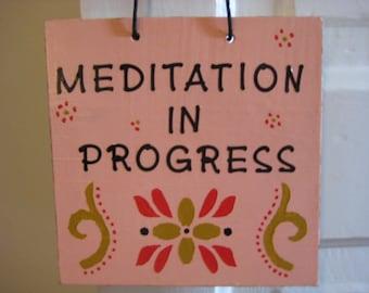 Meditation In Progress Door Sign, Meditation Door Hanger, Ohm Symbol Decor