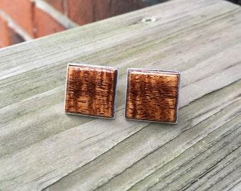 Solid 925 Sterling Silver Cufflinks with Hawaiian Curly Koa Wood Inlay Handmade