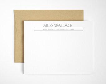 Modern Letterpress Stationery Set - Custom Flat Note Cards - Transatlantic