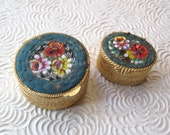 Italian Micro Mosaic Teal Blue Glass Tiles Floral 1940s Pair Round Boxes Pill Snuff Ring Gold Repousse Made in Italy Valentine's Day Gift