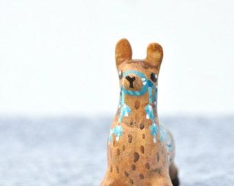 Caramel Alpaca Miniature Figurine, Animal Sculpture, Animal Totem