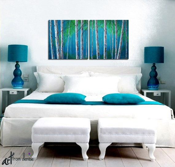 Teal Canvas Wall Art birch tree painting canvas art print set large wall art