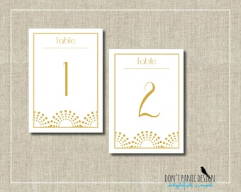 Art Deco Printable Table Numbers 1-30  Gold- Event Table Numbers - Instant Download