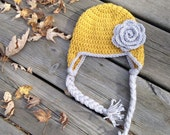 Crochet Hat with Flower for Baby, Children, and Adults, Made to Order