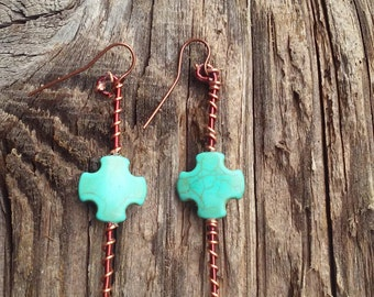 TURQUOISE CROSS on copper wire wrapped post, handmade