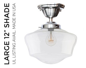 Hand Blown Glass Schoolhouse Pendant Light- MADE IN USA- Nickel