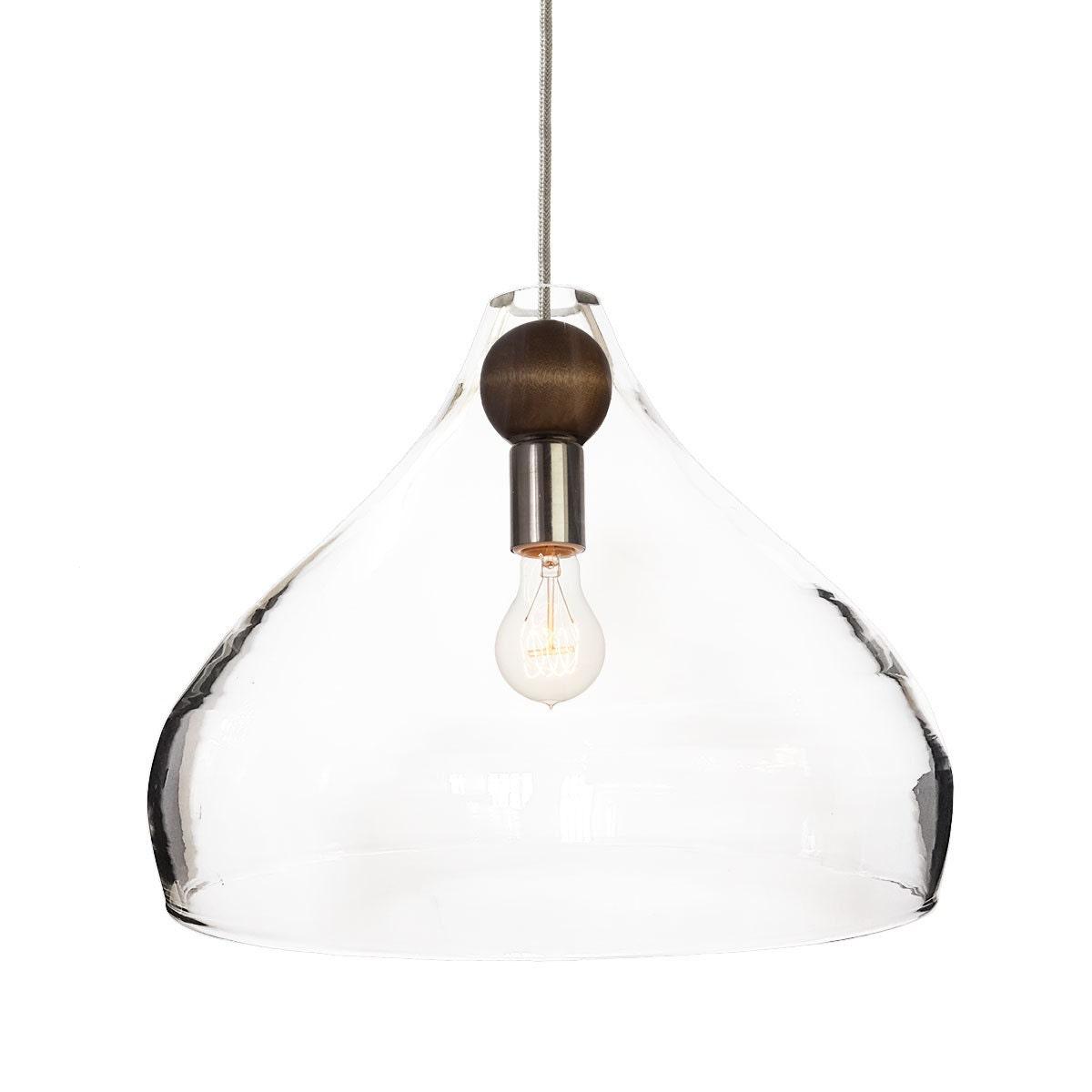 Blown Glass & Wood Drop Pendant Chandelier Light MADE IN USA