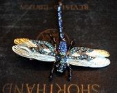 Art Deco Hair Clip, Dragonfly Hairclip, Art Deco Dragonfly Hairclip, Art Deco Hair Accessories, Rhinestone Dragonfly, Wedding Hairclip,