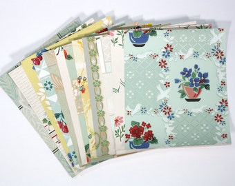 Vintage Wallpaper Collage Pack, 12 Precut Sheets of Assorted Vintage Wallpaper Samples and Scraps