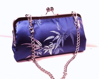 Blue Bamboo Prints Purse, Clutch, Bag 8 X 4.5 X 2 w/ 20 inches Silver Chain Handle