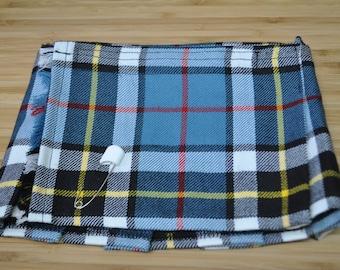Baby Kilt in Thomson Blue tartan, Size Newborn, 100% 10oz Pure New Wool, Handmade in Scotland.