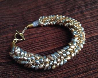 Silver and Gold Magatama Kumihimo Bracelet