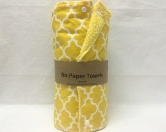 Unpaper towels, reusable paper towels, cloth paper towels, snapping paper towels - Yellow Lattice