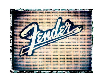 Fender silver face  guitar amp  art print / music gift / rock n roll art / music room decor / guitar gift / man cave art