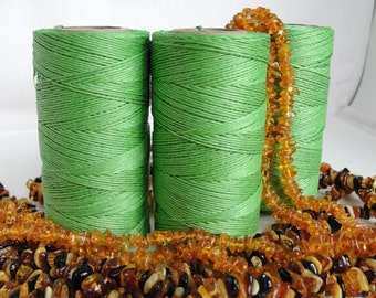 16,5 yards  Green pistachio  waxed linen  thread  3-Ply (1mm)