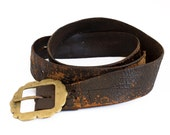 Vintage Clothing & Accessories / 1930's / Vintage Leather Belt With Brass Buckle / Vintage Motorcycle Clothing