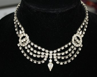 Vintage Magnificent Draping Rhinestone Necklace