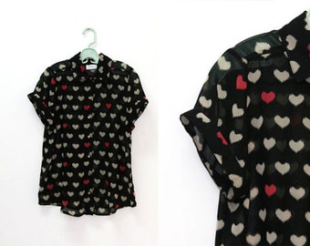 SALE / Vintage hearts print buttoned blouse, Short sleeve blouse, summer chiffon shirt, black sheer top