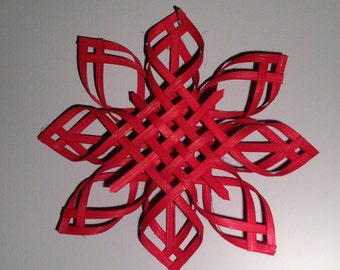 Scandinavian Star Christmas Tree Topper Star of Bethlehem - Red Dyed - Large Size