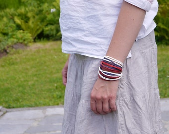 American flag colors, Patriotic Jewelry, Marine Style Bracelet, Red Navy White Wrap Bracelet, Summer Bracelet, gift for her